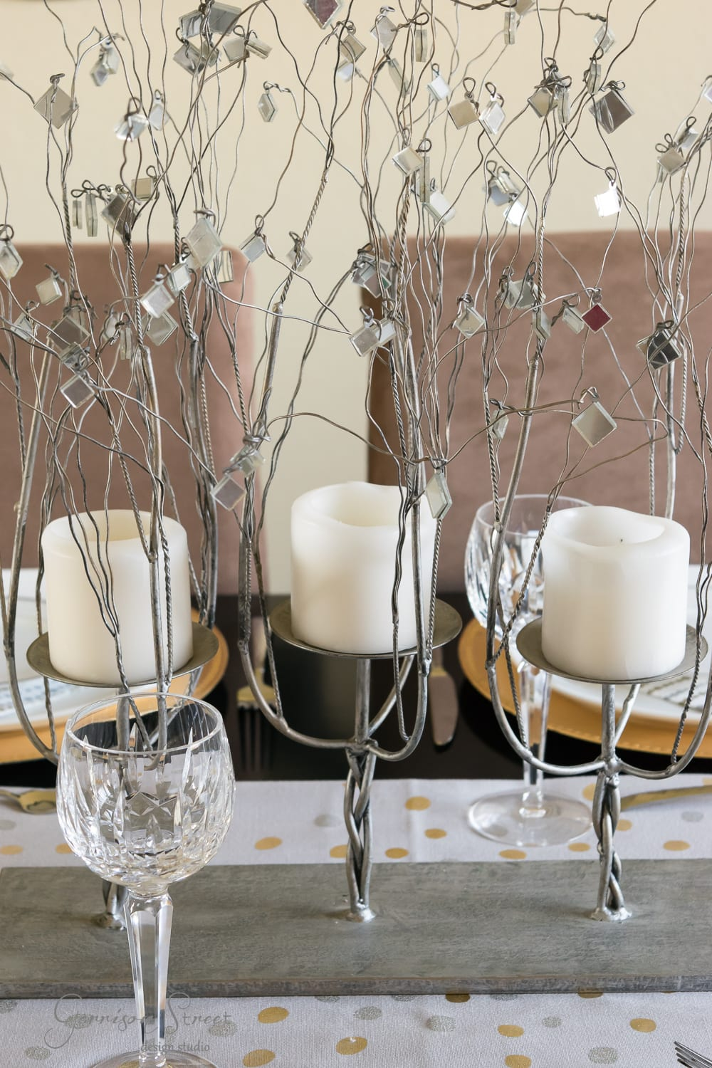 Christmas or New Years Gold and Silver Glam Tablescape