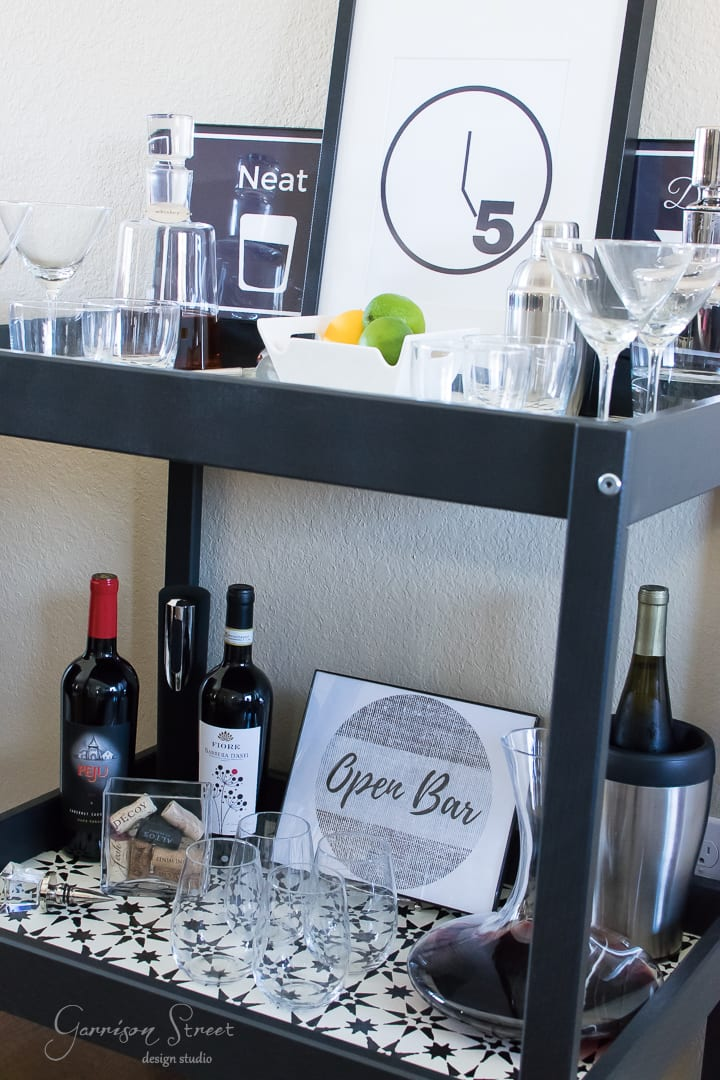 Ikea Bar Cart Hack with Faux Cement Tile