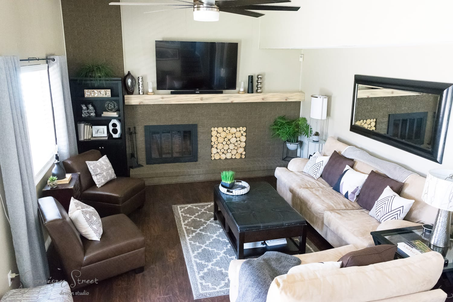 Family Room Makeover with DIY Mantel
