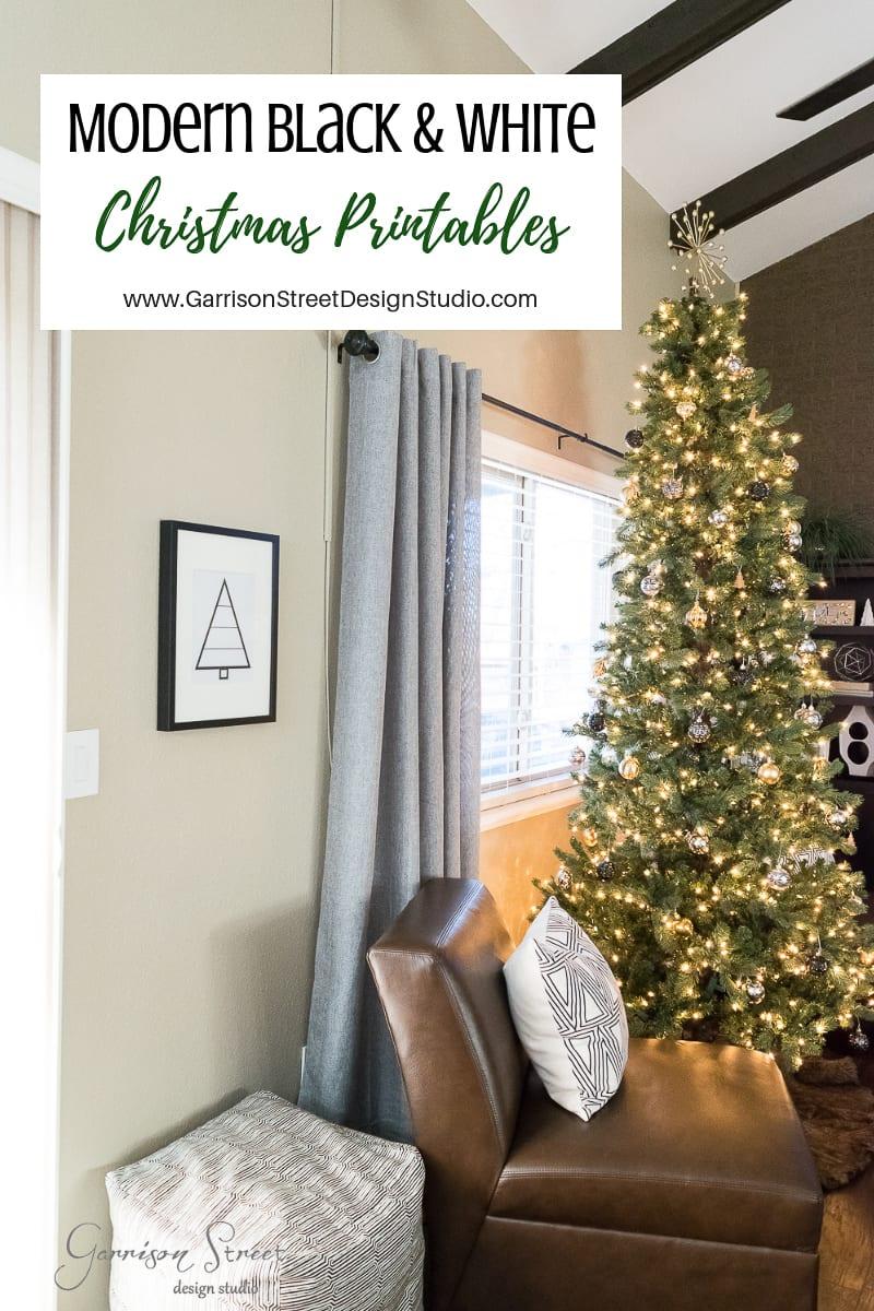Modern Black & White Christmas Printables
