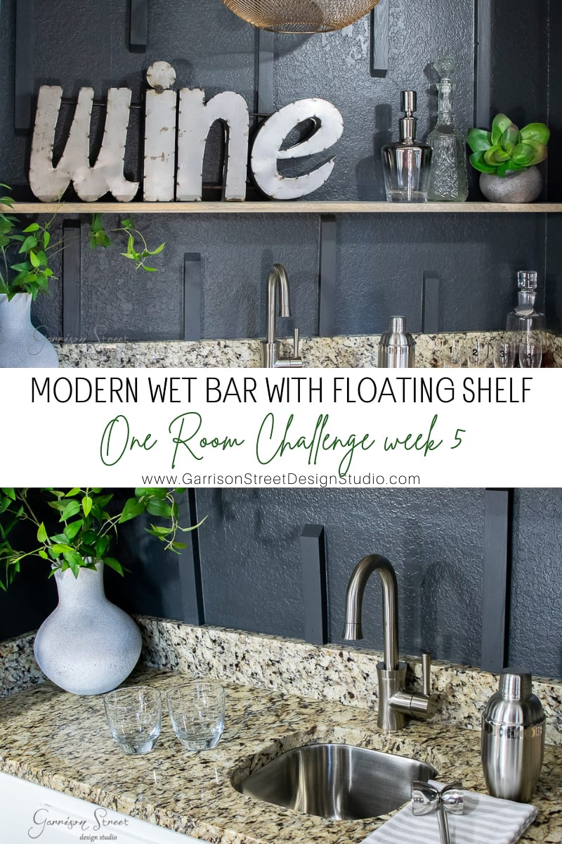 Modern Wet Bar With Floating Shelf