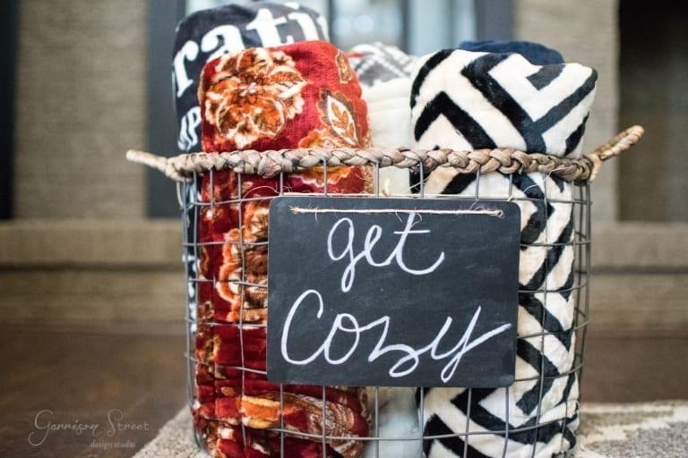 Cozy Blanket Basket with Chalkboard Sign