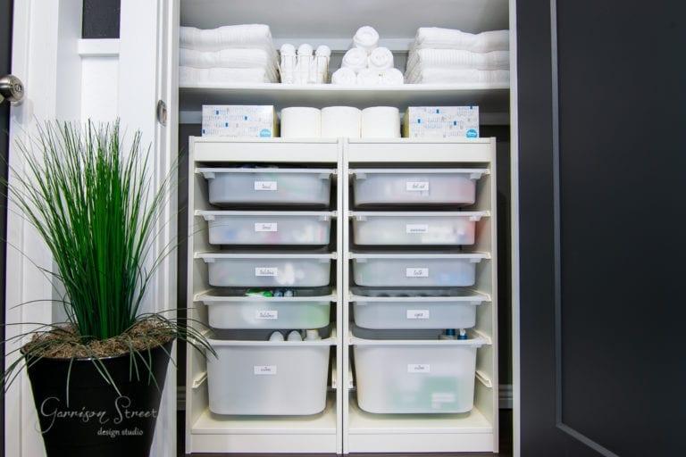 Linen Closet Organization with IKEA Trofast