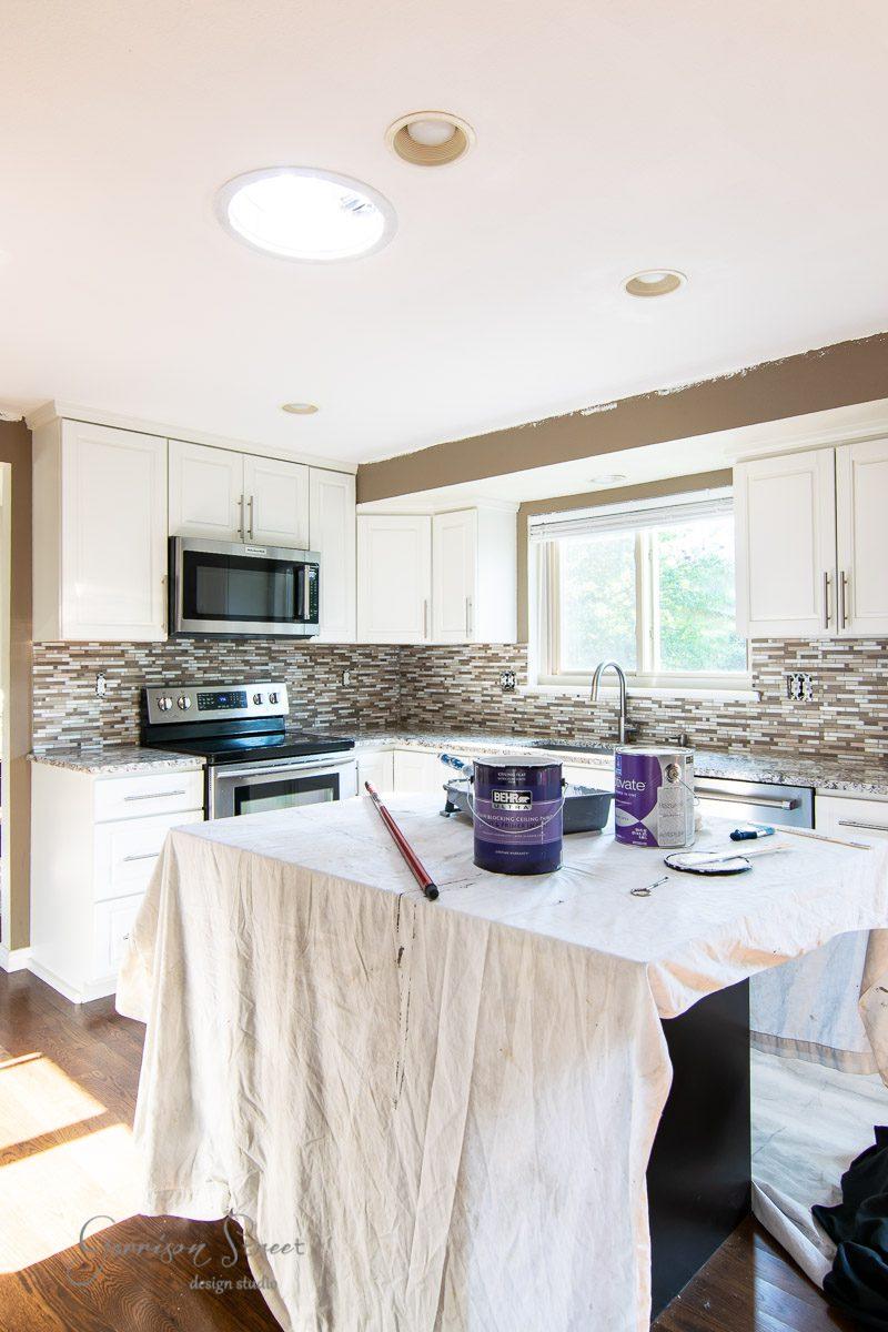 DIY Painted Kitchen Backsplash